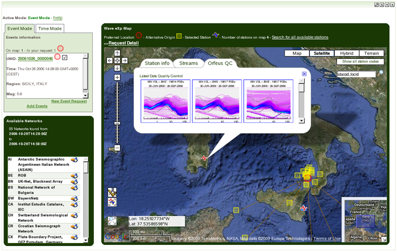 Figure 2. NERIES portal at KNMI, seismic waveform data access portlet. Screenshot of one of the portlets of the site, which allows the user to search and collect waveform data from all the European networks through an interactive map connected to the back