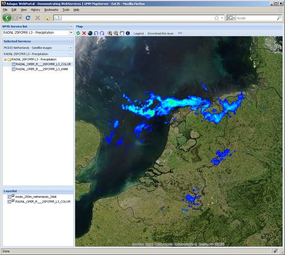 Figure 3. The ADAGUC web portal in which real-time precipitation radar data from the KNMI radars is displayed. The portal communicates with different servers using the OGC Web Mapping service and is able to combine data from different sources. In this scr