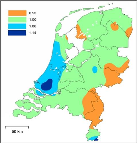 Figure 4. Multiplying factors for converting the quantiles of extreme rainfall for De Bilt to other locations in the Netherlands.