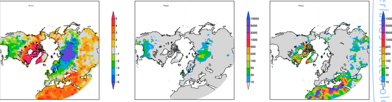 Figure 1. Left: temperature anomalies of the winter of 2010 relative to the 1971-2000 normals (degrees Celsius). Middle: return times of the cold extremes (years) assuming an unchanging climate.