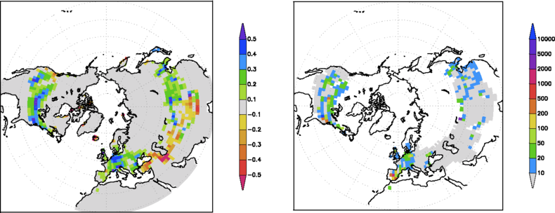 Figure 3. Left: fraction of weeks with snow cover in the winter of 2010 compared to the 1971-2000 average. Right: return time of this deviation in years. Data: NOAA.