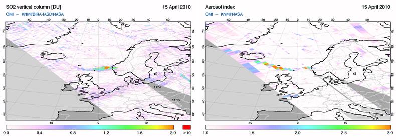 iguur 1 (linker paneel) laat de hoeveelheid zwaveldioxide zien zoals gemeten vanuit de ruimte op donderdag 15 april 2010. Figuur 1 (rechter paneel) laat de hoeveelheid absorberend aerosol zien.
