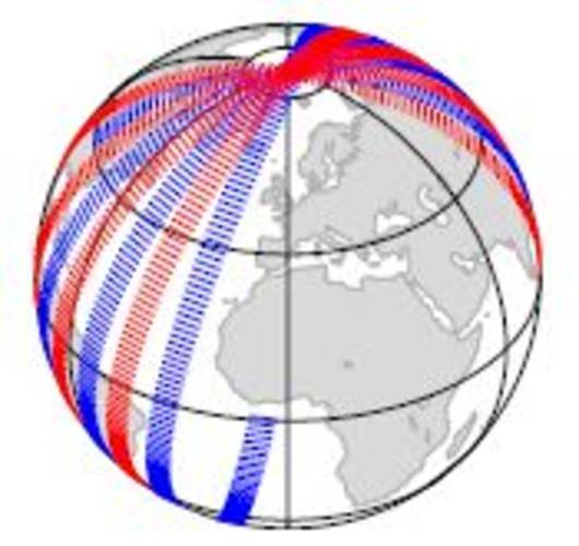 Figure 3. 12 Hours observation coverage for a tandem-Aeolus DWL scenario. Arrows start at measurement locations and point along the line of sight. Blue and red arrows correspond to the two Aeolus satellites.