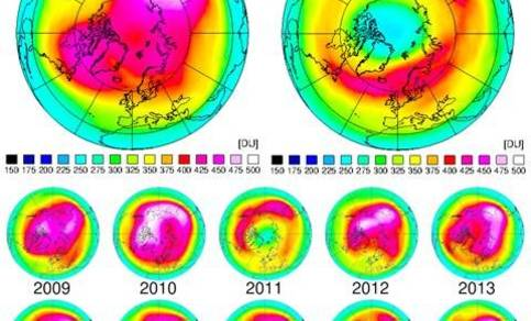 dikte van de ozonlaag boven de noordpool in maart 2020