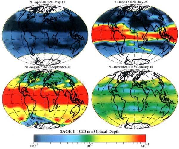 SAGE II stratosferische optische dikte voor en na de eruptie van de Pinatubo. bron: NASA
