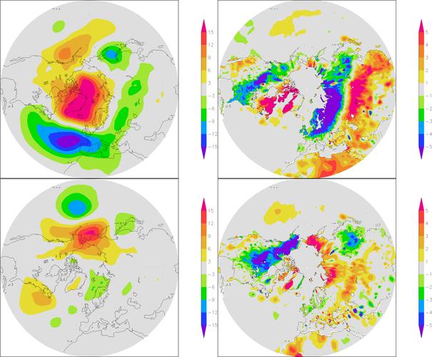 Linksboven: luchtdrukafwijkingen van normaal in maart 2013, middenin de koudeperiode van het voorjaar. Rechtsboven: de temperatuurafwijkingen. Onder: hetzelfde voor april 2013 (Bron: NCEP/NOAA)