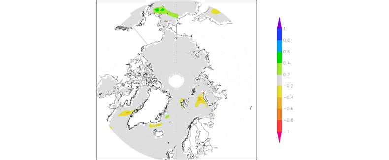 Figuur 4. Afwijking van de zeeijsconcentratie in maart 2013 van het gemiddelde over 1981-2010. Bron: NSIDC.