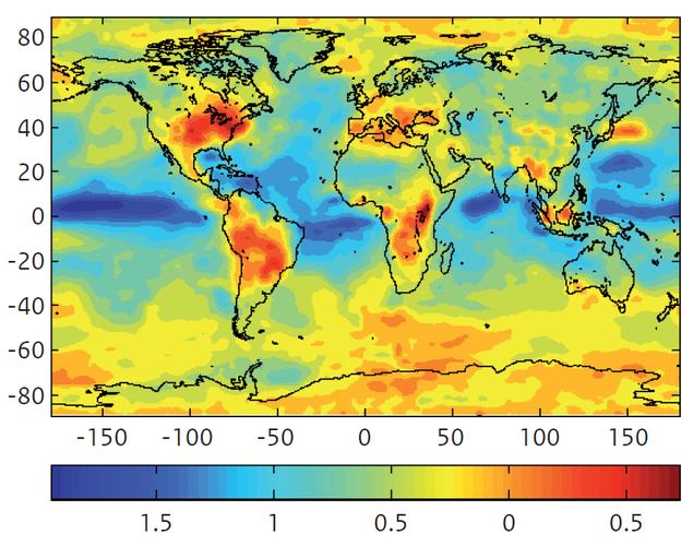 Figuur 1. Verandering in de jaargemiddelde ozonconcentratie (ppb; 1 ppb≈2 μg.m-3) aan het oppervlak ten gevolge van klimaatverandering in 2030 ten opzichte van 2000. De kaart toont het gemiddelde resultaat van een groot aantal mondiale modellen, waarin de