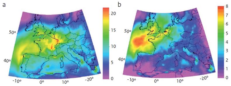 Figuur 3. Verschil in de gemiddelde dagelijkse piekwaarden in de ozonconcentratie aan de grond (ppb; 1 ppb≈2 μg.m-3) in de maanden juni-september ten gevolge van klimaatverandering in 2071-2100 ten opzichte van 1961-1990: (a) Verschil tussen het A2-scenar