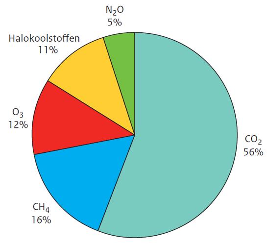 Figuur 4. De relatieve bijdrage aan de wereldgemiddelde directe stralingsforcering in 2005 ten opzichte van omstreeks 1750 van de belangrijkste antropogene broeikasgassen: kooldioxide (CO2), methaan (CH4), troposferisch ozon (O3), lachgas (N2O) en halokoo