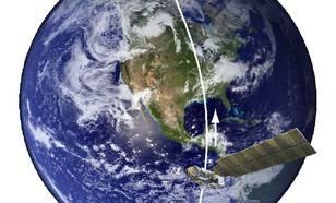 Figuur 4: Baan van de Aura-satelliet. De satelliet vliegt aan de dagkant van de aarde van zuid naar noord. Met veertien rondjes om de aarde is de hele aarde in beeld gebracht.