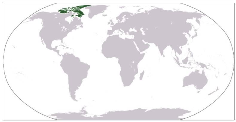 Figuur 1: De Canadese Arctische Eilanden liggen ten noordwesten van Groenland (source: CIA world fact book)