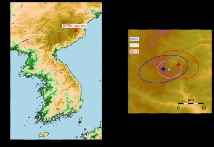 De Punggye-ri test site in de DPRK (links) en de locaties van de drie nucleaire tests in 2006, 2009 en 2013 (rechts). De onzekerheid in de locaties is weergegeven met een onzekerheidsellips. De locatie van de huidige test moet als voorlopig beschouwd word