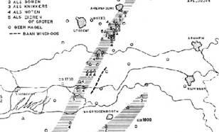 kaart met Samenvatting van de meldingen van hagel met grotere diameter dan 1½ cm. In Utrecht en Gelderland is niet elke melding apart aangegeven.