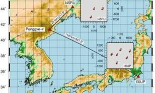 Figuur 1a Locatie van de Punggye-ri nucleaire test-site in Noord-Korea en de twee IMS infrageluid arrays in Rusland (I45RU) en Japan (I30JP). © KNMI