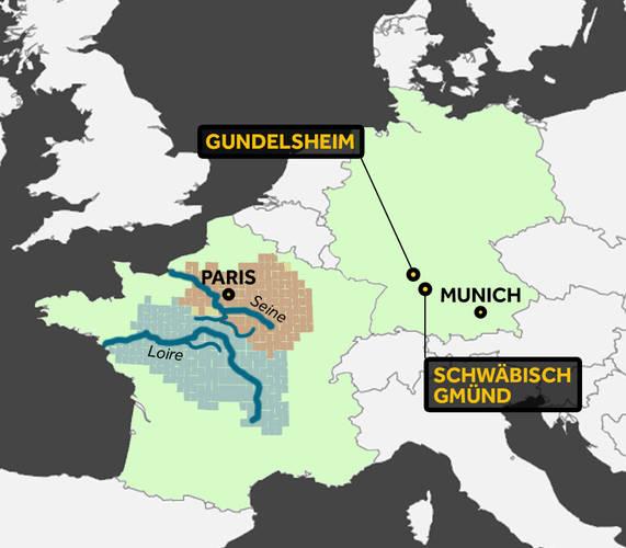Kaart overstromingen Frankrijk en Duitsland