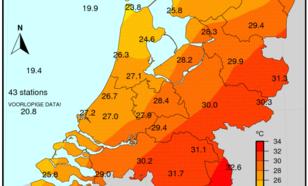 Kaart 3: Maximumtemperatuur 23 juni 2016, in een deel van het land was het tropisch warm