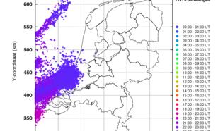 Kaart 5: Geregistreerde bliksemontladingen op 22 juni 2016