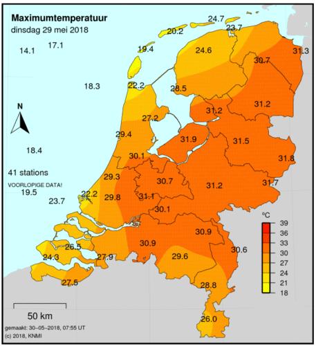 Figuur 2: maximumtemperatuur op 29 mei 2018