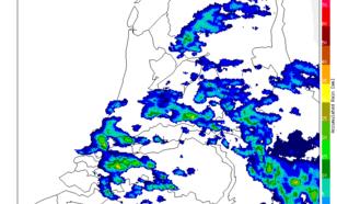Figuur 6: Cumulatieve neerslaghoeveelheid bepaald uit beelden van de KNMI-neerslagradars, 15-18 uur LT
