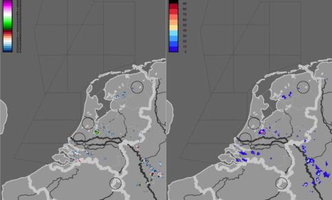 Figuur 9: Hagelkans en grootte om 16.20 uur LT (14.20 uur UT) -hagel bij Utrecht