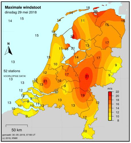 Figuur 11 Maximale windstoten in m/s (x 3,6 voor km/uur) op 29 mei 2018
