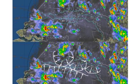 Figuur 12: Voorbeeld outflow boundaries in radarbeeld op 29 mei 2018 (met dank aan Bram van 't Veen)