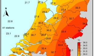 Figuur 4: Maximumtemperatuur, 25 juli 2018