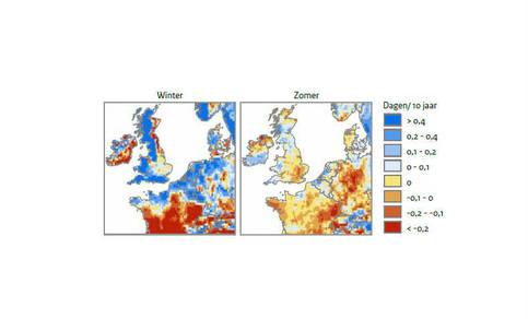 Figuur 3: Waargenomen veranderingen in het aantal winterdagen per jaar met ten minste 10 millimeter neerslag (boven) en het aantal zomerdagen per jaar met ten minste 20 millimeter neerslag (onder) tussen 1951 en 2013. Bron: www.ecad.eu