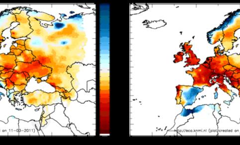 Figuur 2c. Neerslag afwijkingen van normaal in april 2007 (links) en april 2009 (rechts) in de E-OBS analyses.
