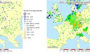 Figure 11: Trend over 1951-2012 in very heavy precipitation days (>20mm) for May (left) and June (right) (source: ECA&D).