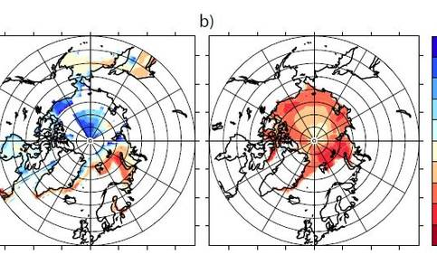 Figure 3. Year in which the trend (measured from 1980 onwards) in (a) March and (b) September sea-ice coverage emerges from the weather noise at the 95%-significance level. In March the trend does not emerge from the noise before 2100 in the white regions