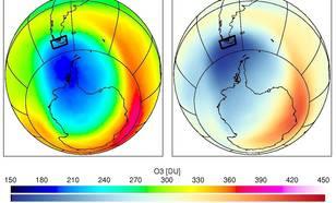 Figuur 1. Gemiddelde dikte van de ozonkolom boven de zuidpunt van Zuid Amerika in Dobson Units (1 DU ~ 2.69 10^18 moleculen/cm2) voor 11-30 november 2009 (links) en de afwijking ten opzichte van het langjarige gemiddelde voor 1979-2008 (rechts).