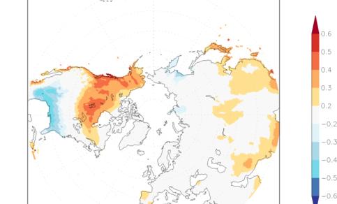 Figuur 4. Gebieden op het noordelijk halfrond waar het gemiddeld wat warmer is bij El Niño (oranje-rood) of juist kouder (blauw). De kleur geeft aan hoe sterk het effect is vergeleken met de toevallige fluctuaties van het weer.