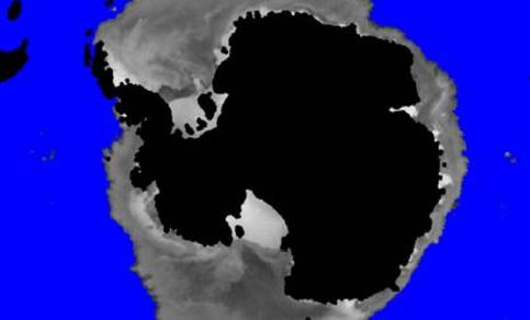 Figure 3. NH sea ice mask with backscatter values from SeaWinds (8th May 2009).
