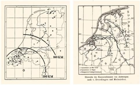 Figuur 5: De hoor- en voelbaarheid van het geluid samenhangend met de belegering van Antwerpen in 1914 (Van Everdingen, 1914; Meinardus, 1915).