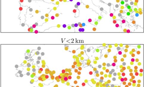Figuur 2.  De afname van de hoeveelheid dichte mistdagen (zicht kleiner dan 200m) en neveldagen (zicht kleiner dan 2km) in Europa over 1976-2006 in procent per jaar.