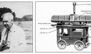 Figuur I1-1 G.M.B. Dobson (25 februari 1889 - 11 maart 1976) en zijn mobiele Dobson spectrophotometer weergegeven op een prachtige industriële tekening.
