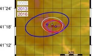 Figuur 1b De locaties van de vier Noord-Koreaanse kernbomproeven en onzekerheidsellipsen (de onzekerheid in de locaties) zijn gegeven. © KNMI