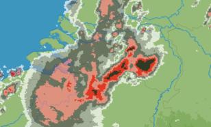 Kaart 4: Beeld van de KNMI-neerslagradars, 2015 uur LT. Boven Brabant is een supercel zichtbaar.