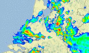 Figuur 4: Beeld van de neerslagradars van het KNMI om 18.00 uur LT (16.00 uur UT)