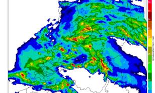 Figuur 7: Cumulatieve neerslaghoeveelheid bepaald uit beelden van de KNMI-neerslagradars, 18-21 uur LT