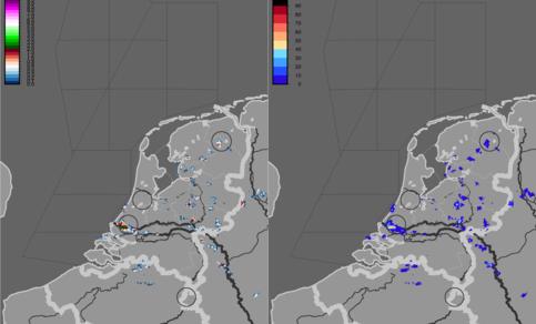Figuur 10: Hagelkans en grootte om 17.45 uur LT (15.45 uur UT) - hagel bij Rotterdam