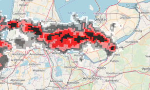 Figuur 3: Uitsnede beeld KNMI-radars met buienlijn boven Flevoland om 12.30 uur LT