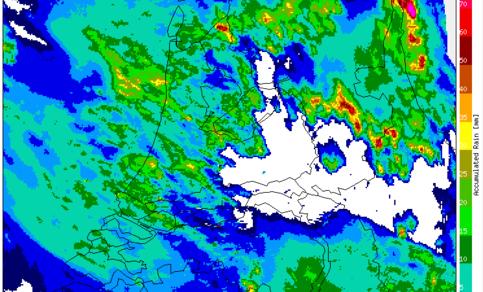 Figuur 8: Cumulatieve neerslaghoeveelheid bepaald uit beelden van de KNMI-neerslagradars, etmaal van 31 mei 10.00 uur LT - 1 juni 10.00 uur LT