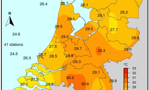 Figuur 8: gemiddelde temperatuur op 27 juli 2018