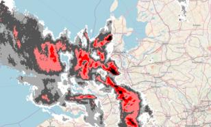 Figuur 3: Beeld van de neerslagradars van het KNMI om 23.30 uur