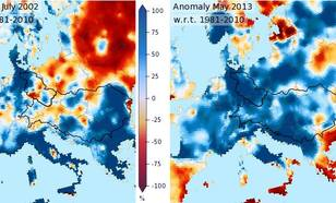 Figure 9: Precipitation anomaly in percentage for July 2002 (left) and May 2013 (right) w.r.t. the normal amount over the period 1981-2010 (source: E-OBS).