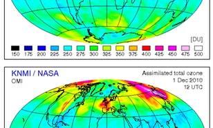 Figuur V4-1. Totale hoeveelheid ozon. De totale hoeveelheid ozon, ook wel ozonkolom genoemd, wordt verkregen door het meten van al het ozon dat zich in de atmosfeer bevindt boven een bepaalde locatie op het aardoppervlak. Ozonkolom waarden worden gerappor