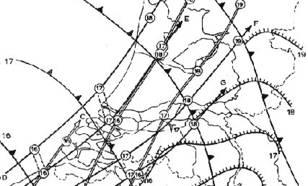 kaart met Ligging van de fronten en de buiencellen op de aangegeven uren. De hoossporen zijn gestippeld.